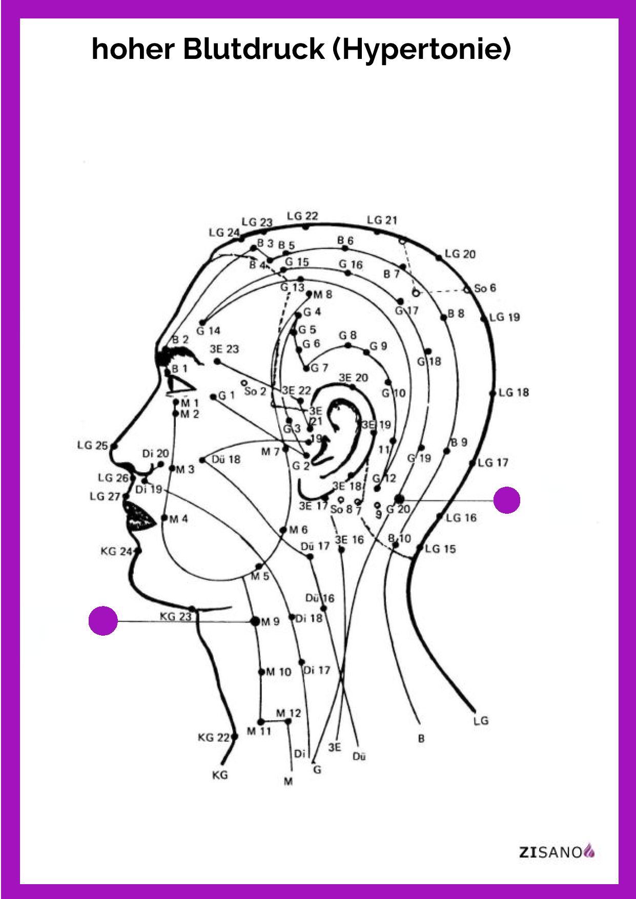 Meridiane - Blutdruck, hoher (Hypertonie) - Behandlung