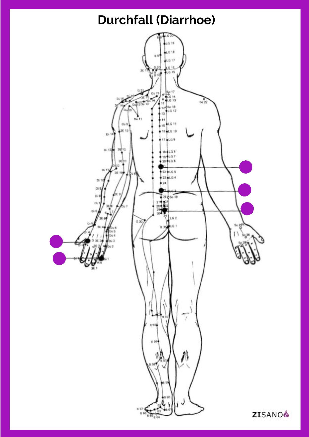 Meridiane - Durchfall (Diarrhoe)- Behandlung